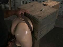A girl bends over with her head in a wooden box, to get fucked from behind